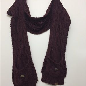 Accessories - Made for Each Other scarf with mittens burgundy